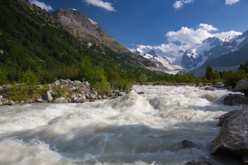Szwajcarski góra krajobraz Morteratsch lodowa dolina obrazy stock
