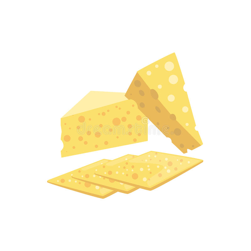 Szwajcarski ser Ustawiający pizza składniki ilustracja wektor