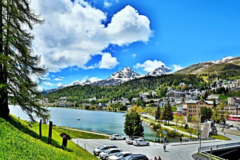 Szwajcarski widok na jeziora St Moritz fotografia stock