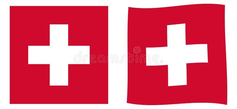 Szwajcarskiej konfederacji Szwajcaria flaga Prosty i wavi nieznacznie royalty ilustracja