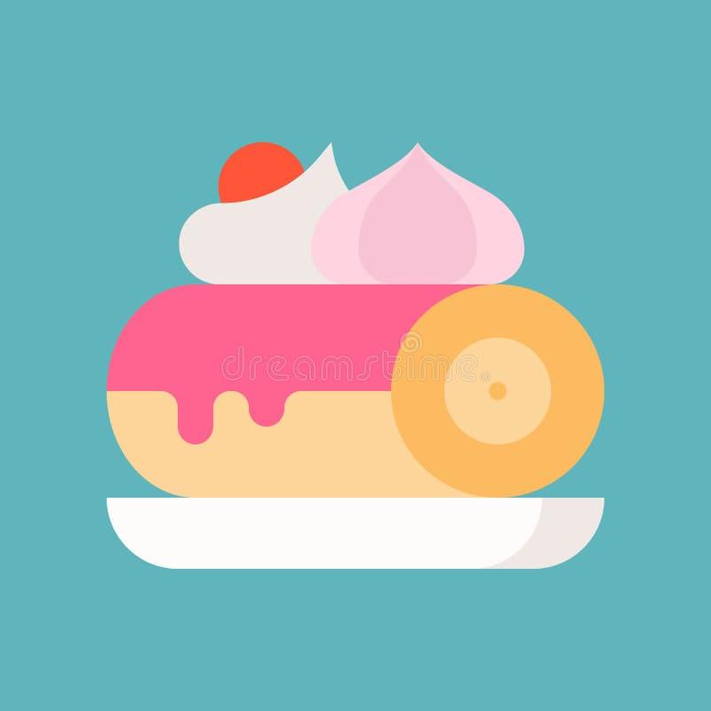 Szwajcarskiej rolki tort na talerzu, cukierkach i ciasto secie, płaski projekta ico royalty ilustracja
