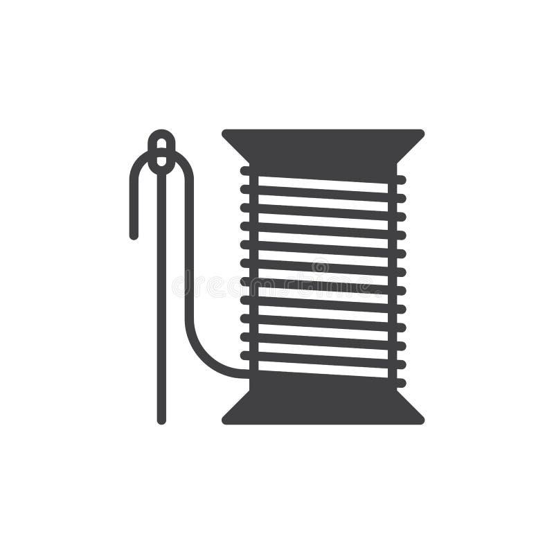 Szwalna igła i niciany rolki ikony wektor, wypełniający mieszkanie znak, stały piktogram odizolowywający na bielu ilustracja wektor