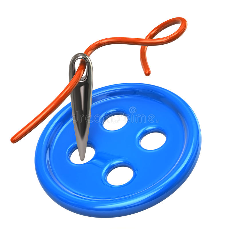 Szwalna igła, nić i błękitny guzik, ilustracji