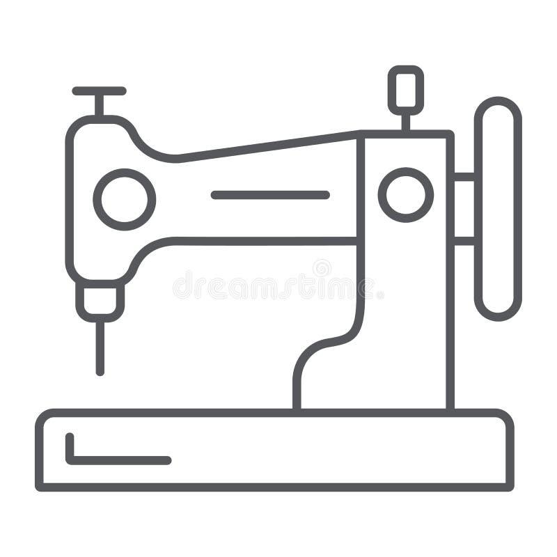 Szwalnej maszyny cienka kreskowa ikona, hobby i handcraft, gospodarstwo domowe znak, wektorowe grafika, liniowy wzór na bielu royalty ilustracja