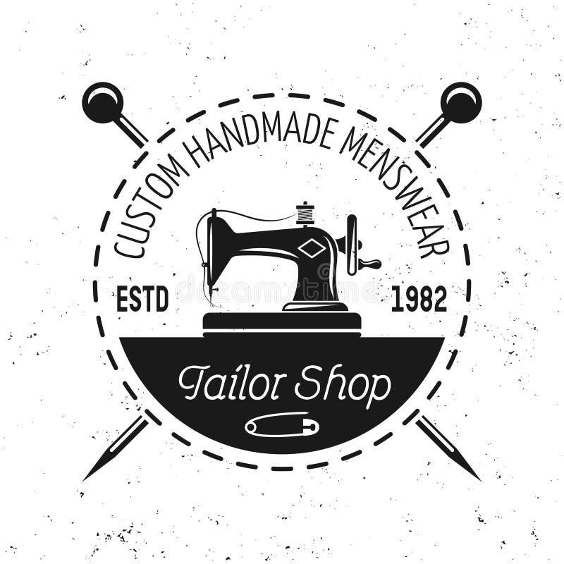 Szwalnej maszyny wektorowy emblemat, etykietka, odznaka lub logo, royalty ilustracja