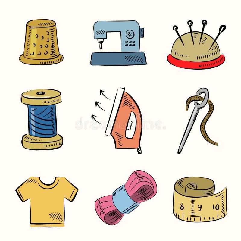 Szwalny ikona set ilustracji