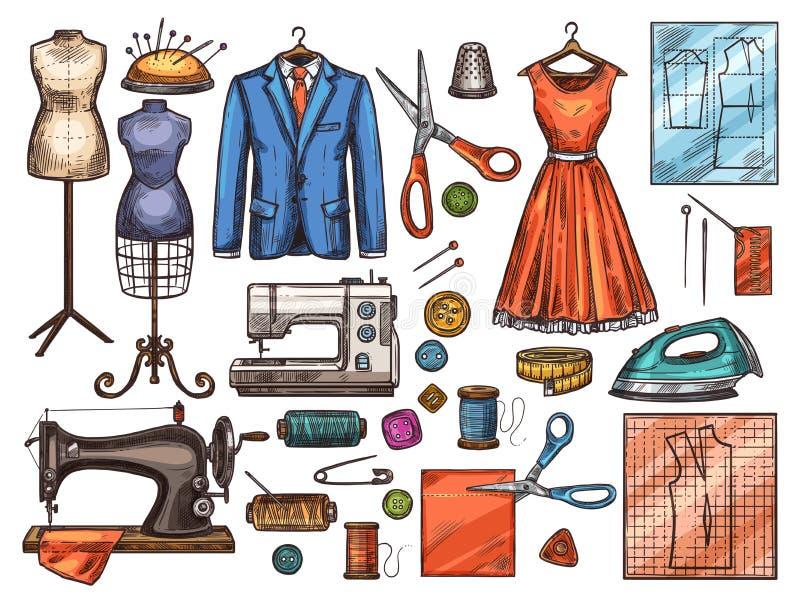 Szwalny narzędzia i krawczyny wyposażenia nakreślenia projekt royalty ilustracja