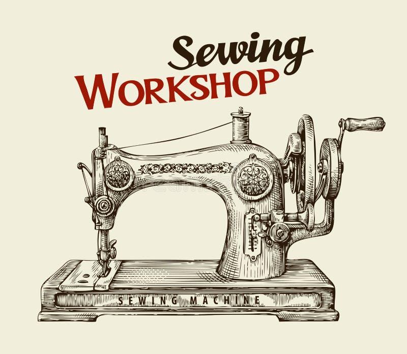 Szwalny warsztat lub krawczyny sklep Ręka rysująca rocznik maszyna również zwrócić corel ilustracji wektora royalty ilustracja