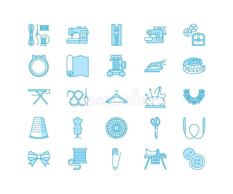 Szwalny wyposażenie, krawieckie dostawy mieszkania linii ikony ustawiać Uszyć akcesoria - szwalna hafciarska maszyna, szpilka, ig royalty ilustracja