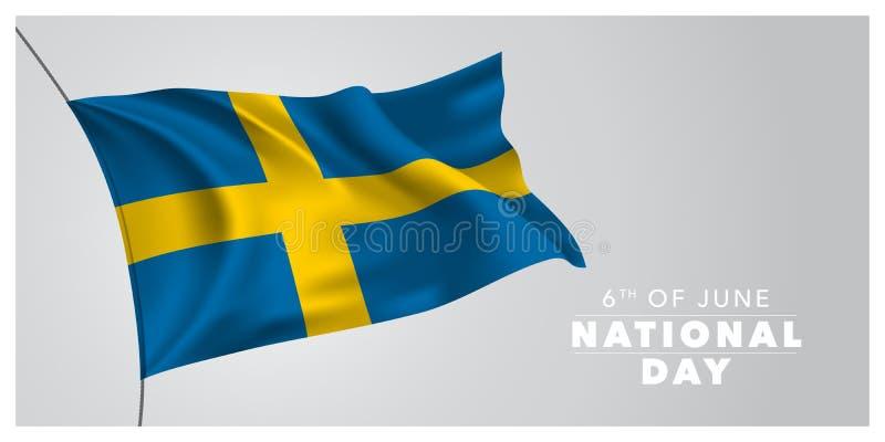 Szwecja święta państwowego szczęśliwa kartka z pozdrowieniami, sztandar, horyzontalna wektorowa ilustracja ilustracja wektor