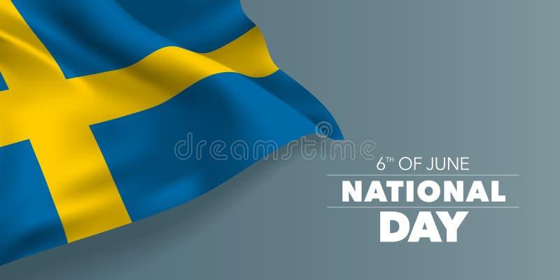 Szwecja święta państwowego szczęśliwa kartka z pozdrowieniami, sztandar z szablonu teksta wektoru ilustracją royalty ilustracja