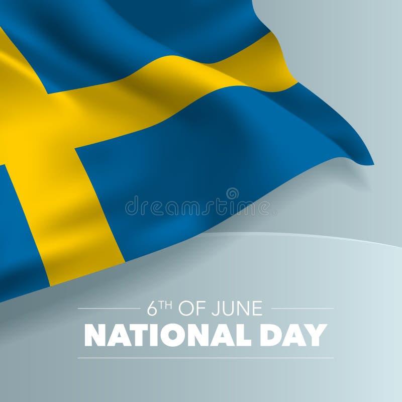 Szwecja święta państwowego szczęśliwa kartka z pozdrowieniami, sztandar, wektorowa ilustracja ilustracja wektor