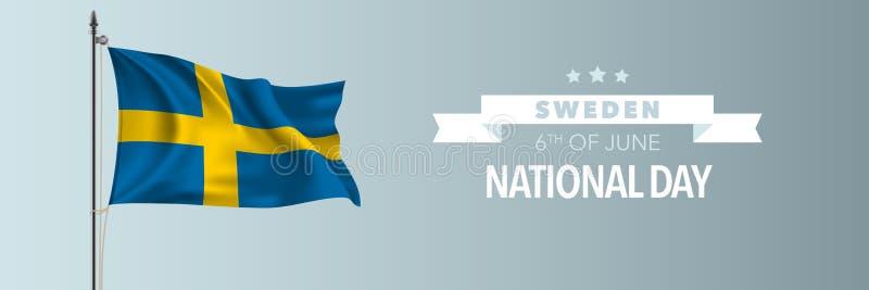 Szwecja święta państwowego szczęśliwa kartka z pozdrowieniami, sztandaru wektoru ilustracja ilustracji