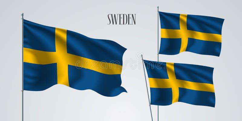 Szwecja falowania flaga set wektorowa ilustracja royalty ilustracja