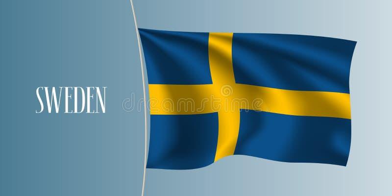 Szwecja falowania flaga wektoru ilustracja Ikonowy projekta element royalty ilustracja