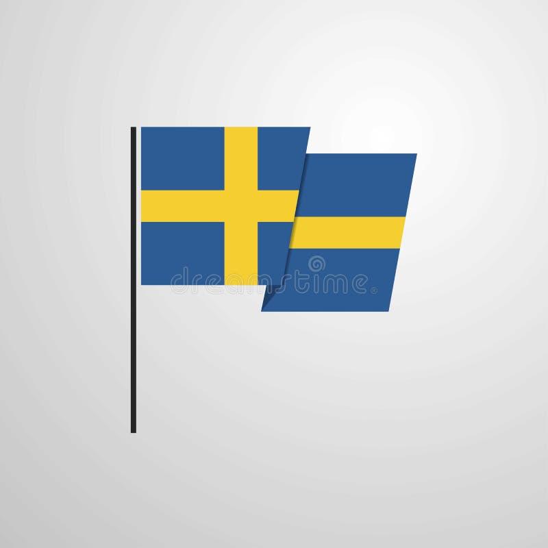 Szwecja falowania flagi projekta wektoru tło ilustracja wektor