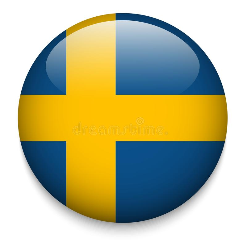 Szwecja flaga guzik ilustracja wektor