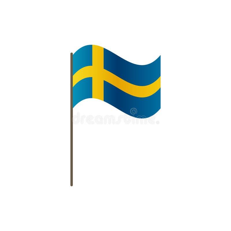 Szwecja flaga na flagpole Urzędnik proporcja prawidłowo i Falowanie Szwecja flaga na flagpole, wektorowy ilustraci isol ilustracja wektor