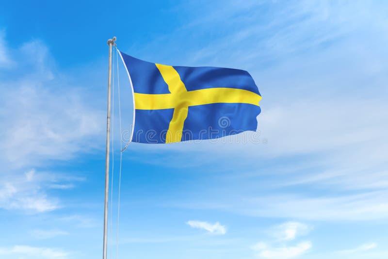 Szwecja flaga nad niebieskiego nieba tłem ilustracji