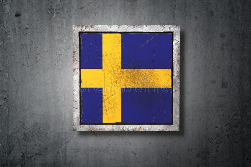 Szwecja flaga w betonowej ścianie royalty ilustracja