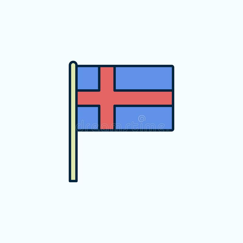 Szwecja flagi 2 barwiąca kreskowa ikona Prosta barwiona element ilustracja Szwecja konturu symbolu projekt od flag ustawia na błę royalty ilustracja