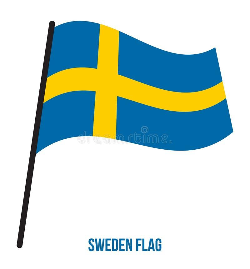Szwecja flagi falowania Wektorowa ilustracja na Białym tle tła chorągwiany ilustracyjny krajowy Sweden biel ilustracja wektor