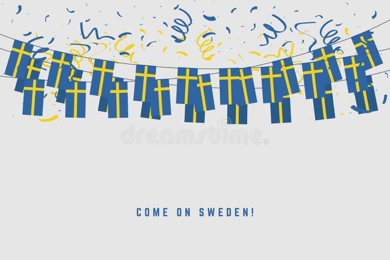 Szwecja girlandy flaga z confetti na szarym tle, zrozumienie chorągiewka dla Szwecja świętowania szablonu sztandaru royalty ilustracja