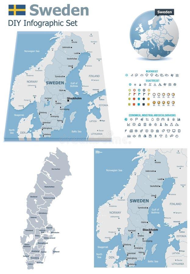 Szwecja mapy z markierami ilustracja wektor