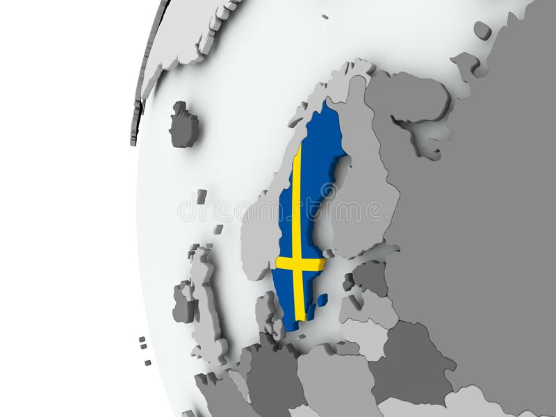 Szwecja na kuli ziemskiej z flaga royalty ilustracja