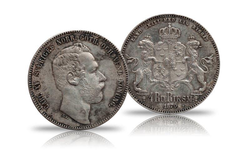 Szwecja Norwegia srebna moneta cztery 4 talarów rigsdaler wybijał monety 1870 Carl XV odizolowywający na białym tle zdjęcia stock