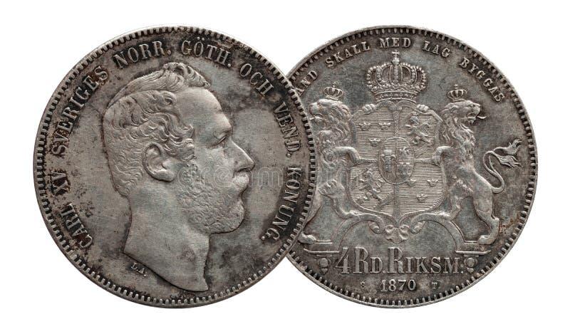 Szwecja Norwegia srebna moneta cztery 4 talar?w rigsdaler wybija? monety 1870 Carl XV odizolowywaj?cy na bia?ym tle zdjęcia stock