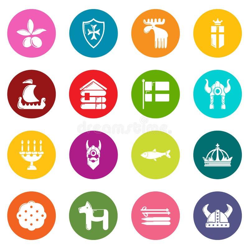 Szwecja podróży ikony ustawiają kolorowych okręgi wektorowych ilustracji