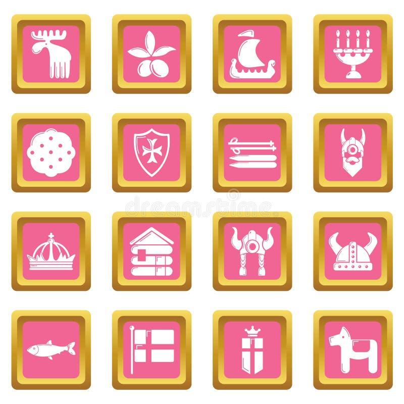 Szwecja podróży menchii kwadrata ikona ustawiający wektor ilustracja wektor