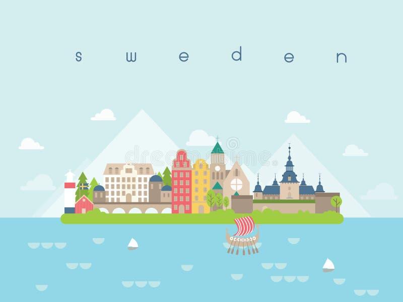 Szwecja punkty zwrotni podróż i podróż wektor ilustracja wektor