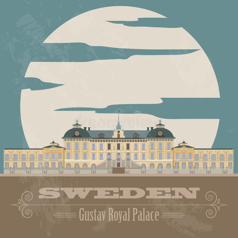 Szwecja punkty zwrotni Retro projektujący wizerunek ilustracja wektor