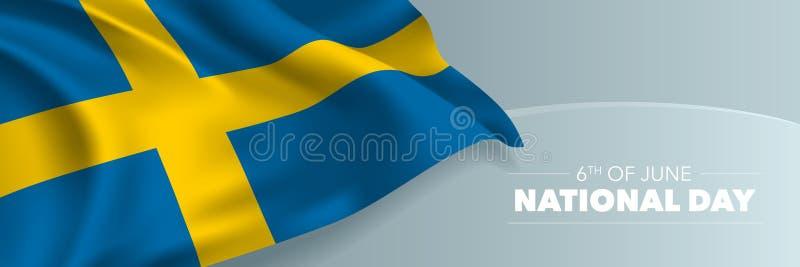 Szwecja szczęśliwego święta państwowego wektorowy sztandar, kartka z pozdrowieniami ilustracji
