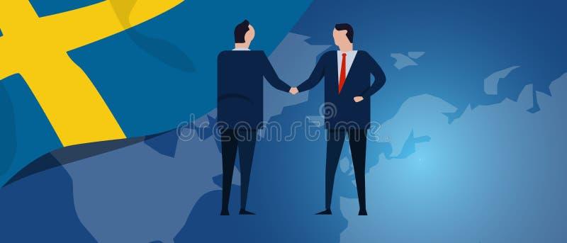 Szwecja Szwedzki międzynarodowy partnerstwo Dyplomaci negocjacja Biznesowego związku zgody uścisk dłoni Kraj flaga ilustracja wektor