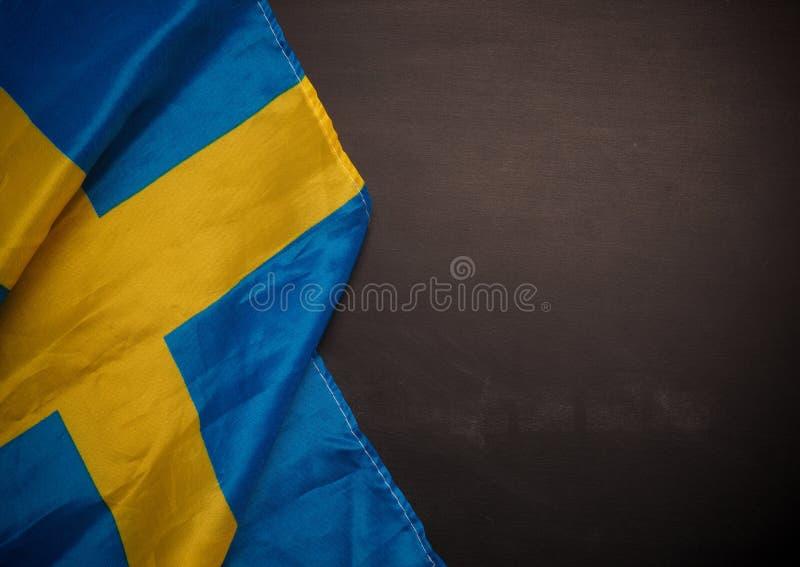 Szwedzi flaga na chalkboard zdjęcie royalty free