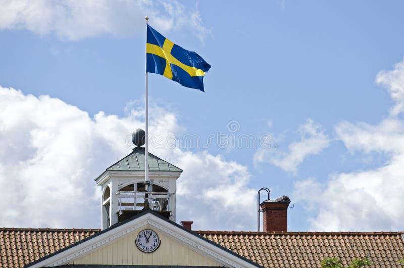 Szwedzi flaga na szczycie obraz royalty free