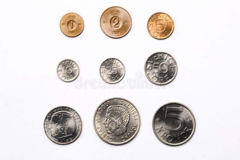 Szwedzi monety na białym tle obrazy royalty free