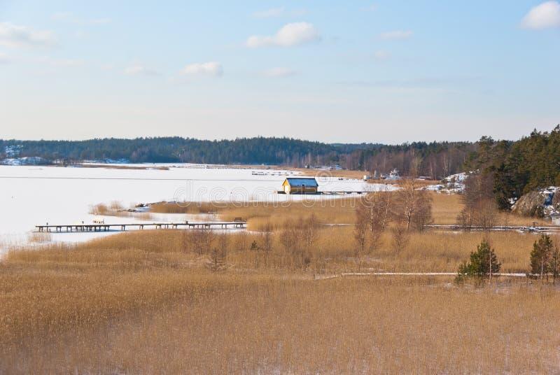 Szwedzi suną w zimie z lodem i śniegiem zdjęcia stock