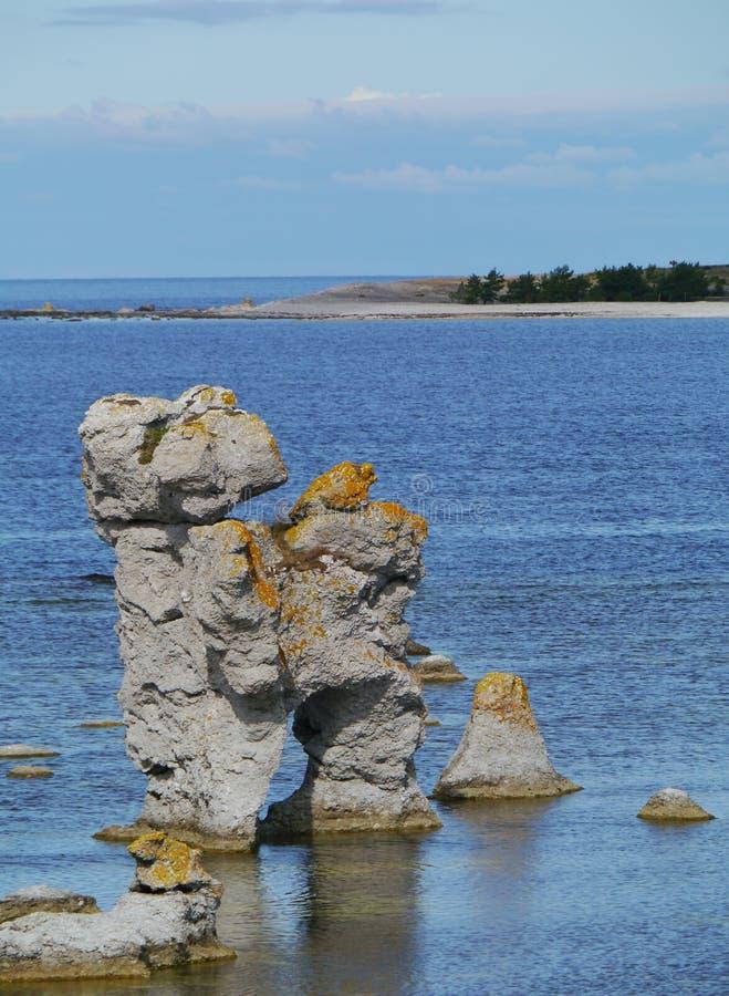 Szwedzka raukar wyspa Faro obrazy stock