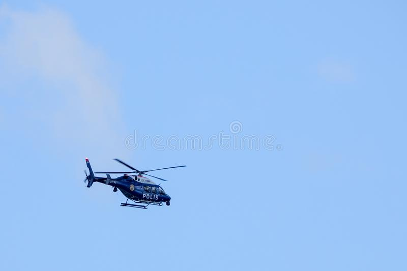 Szwedzki helikopter policyjny zdejmował obrazy stock