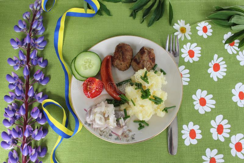 Szwedzki pełnia lata posiłek fotografia stock