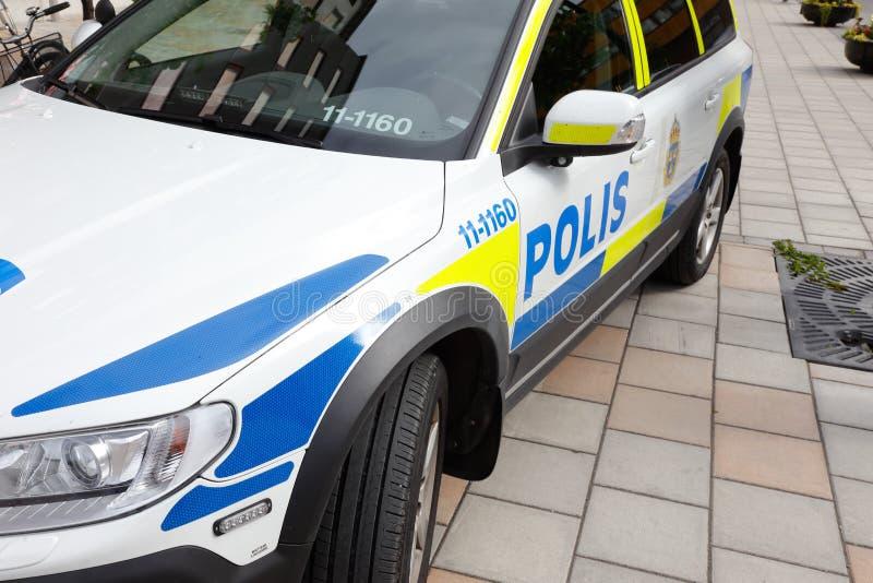 Szwedzki samochód policyjny zdjęcia stock