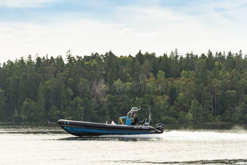 Szwedzki straż przybrzeżna patrolu ziobro KBV 478 z dużą prędkością obrazy royalty free