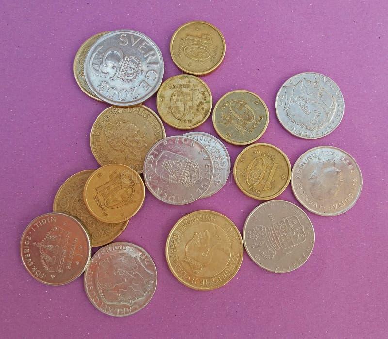 Szwedzkie i Duńskie monety obraz stock