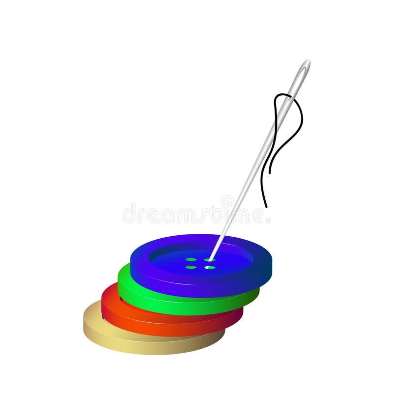 Szyć guziki i igłę z bawełną ilustracji