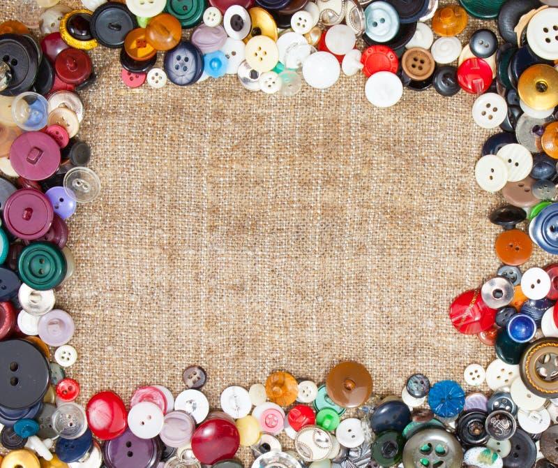 Szyć guziki Obramia tkaniny tło ilustracja wektor