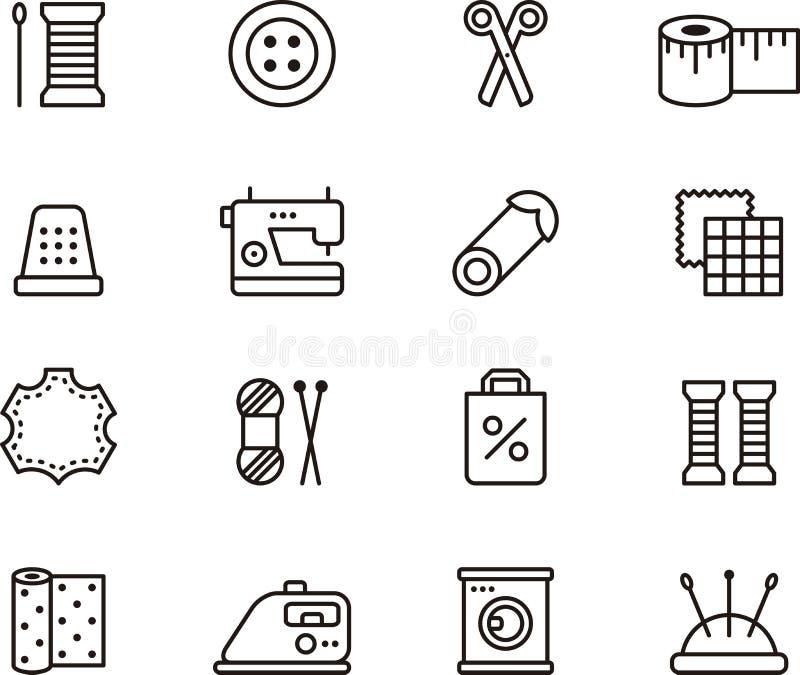 Szyć i mody ikony ilustracja wektor
